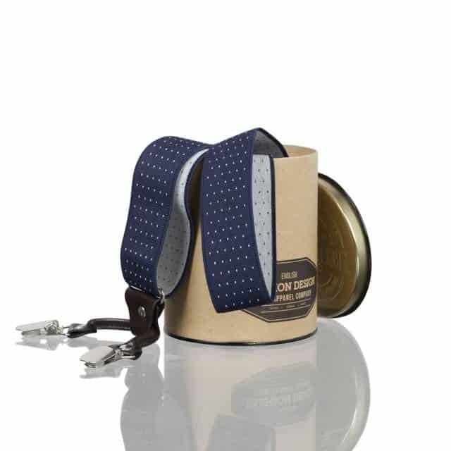 Blauwe bretels met polkadot in cadeauverpakking