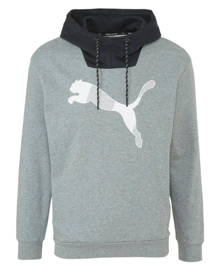 Puma fitness hoodie grijs melange met front print