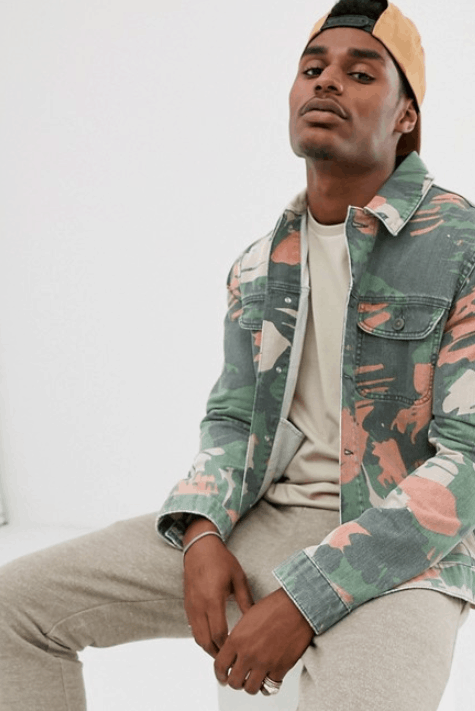 Heren camo zomerjas: ASOS DESIGN denim jacket