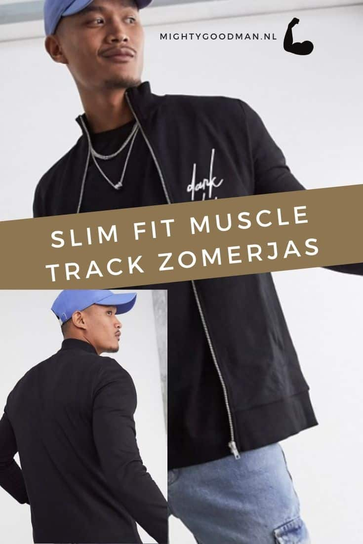 Man poseert in een slim fit muscle track zomerjas